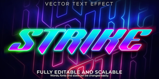 Strike gaming text effect, editable neon and laser text style