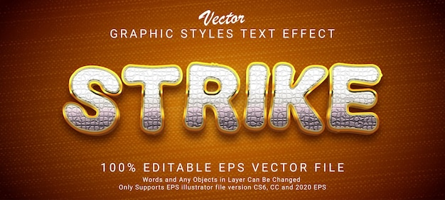 Strike gold editable text style effect