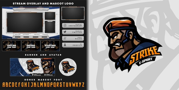 Strike mascot logo and twitch overlay template