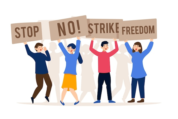 Strike and save freedom stop racism concept