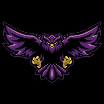 Яркая иллюстрация логотипа киберспорта совы
