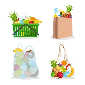 String bag, supermarket plastic cart full of food. eco-friendly cotton nets shopping bag. farming.