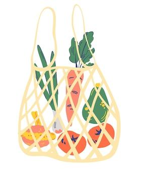 野菜入りストリングバッグ。野菜たっぷりのメッシュエコバッグ。タマネギ、ニンジン、アボカド、トマト、スカッシュ。地元の市場からの新鮮な有機食品を扱う現代の買い物客。ゼロウェイスト、プラスチックフリーのコンセプト。
