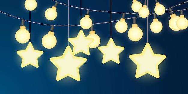 ストリングライトと明るい星のお祝いのお祝いのイラスト