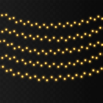 String lights isolated decoration on transparent background