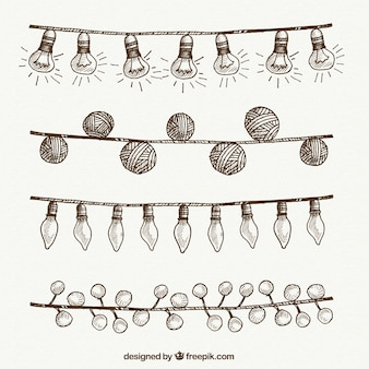 String lights set of hand drawn christmas decoration