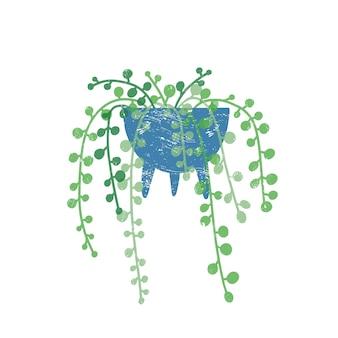 진주 houseplant 평면 벡터 일러스트 레이 션의 문자열입니다. 흰색 배경에 격리된 트렌디한 세라믹 냄비에 있는 godson rowley 꽃. 계단식 즙이 많은 이국적인 녹색 인테리어 장식 요소입니다.
