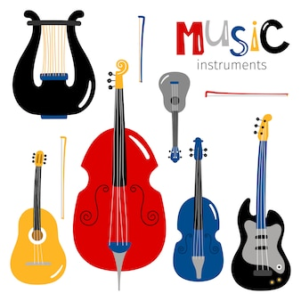 Stringed musical instruments icons isolated on white