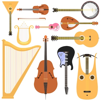 Stringed musical instruments set classical orchestra art sound tool and acoustic symphony stringed fiddle wooden equipment.