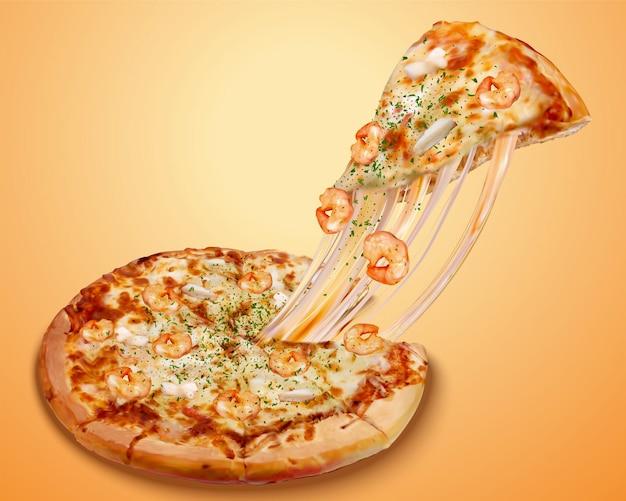 Рекламный плакат пиццы с морепродуктами и сыром и богатыми ингредиентами в 3d иллюстрации
