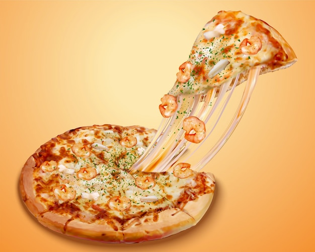 Stringy seafood pizza poster ads with cheese and rich ingredients in 3d illustration