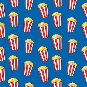 ポップコーンバケツ、面白い映画のシームレスなパターン、ベクトル図をストリップします。