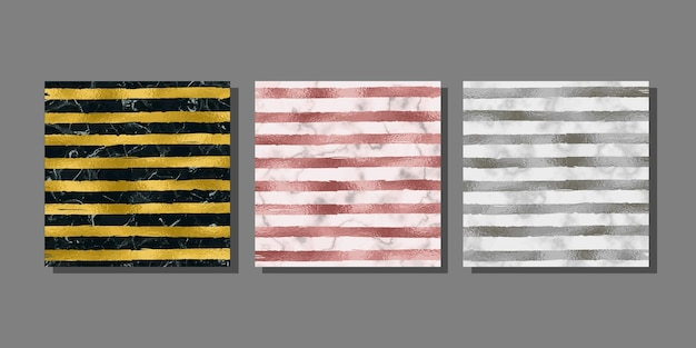 Stripe gold silver and pink gold covers set on marble background metal foil abstract  templates