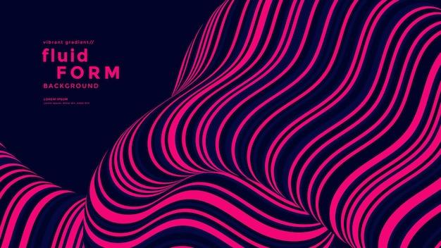 Полоса неоновых оптических жидкостных волн. двухцветные композиции с волнистыми линиями. фон динамического потока