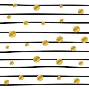 Полосатый узор с золотыми точками