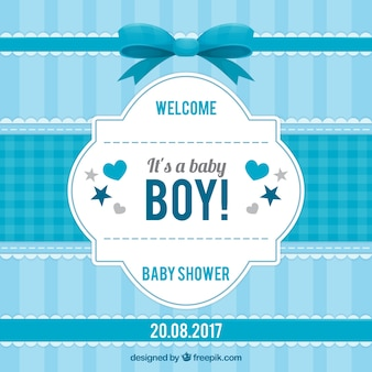 Striped baby shower invitation in blue tones