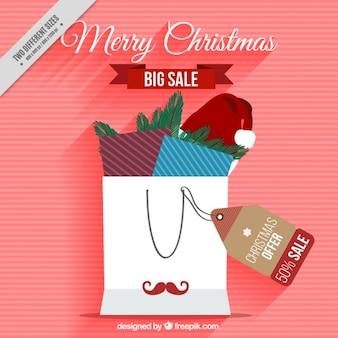 Полосатый фон рождественские покупки мешок