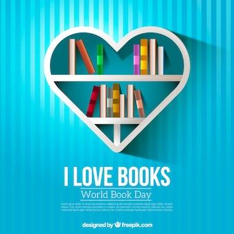 Полосатый фон в форме сердца полки с книгами Бесплатные векторы