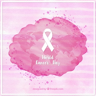 Striped background and watercolor stain with world cancer day ribbon