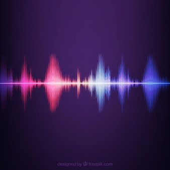 Striped background with colored sound wave