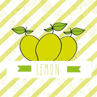 Striped background with delicious fresh nature lemon