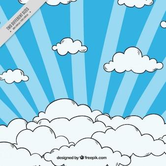 Полосатый фон с рисованной облаками