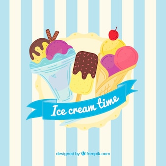 Striped background with ice cream assortment
