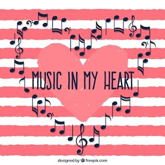 Полосатый фон с музыкальными нотами сердца