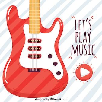 빨간 일렉트릭 기타와 줄무늬 배경