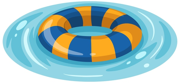 Striped blue and yellow swimming ring in the water isolated