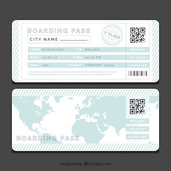 Striped boarding pass template with blue world map