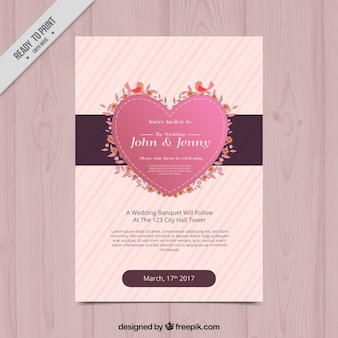 Striped bridal shower invitation with cute heart and birds
