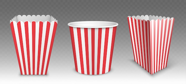Striped bucket for popcorn, chicken wings or legs mockup isolated on transparent