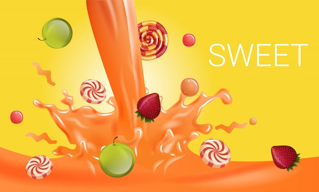 Striped candies and fruits drops in orange liquid