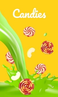 Striped candy. sliced apples drops in green liquid banner