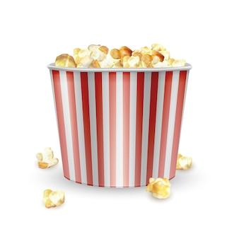 Striped carton bowl filled of popcorn, bag full of popcorn. realistic  illustration