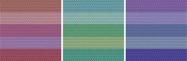 Striped colorful light fabric texture set knitted pattern background vector
