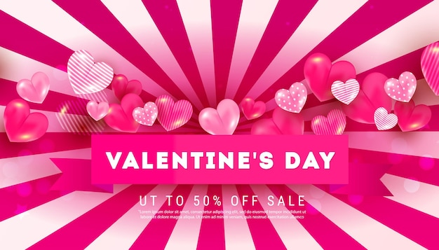 Striped creative banner with red ribbon with text, 3d heart shape pattern on pink background. can be used for web banners, posters, discount, voucher.