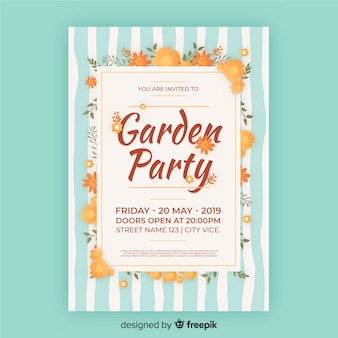 Striped garden party poster