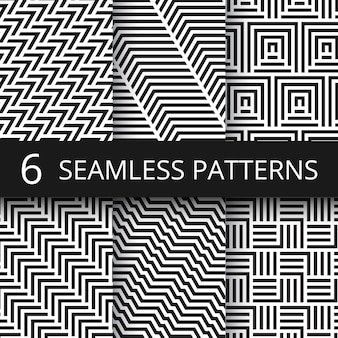 Striped geometric vector seamless patterns set. kinetic art endless wallpapers