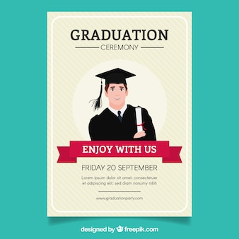Striped graduation party brochure with student