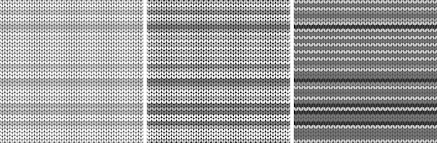 Striped grey light fabric texture set. knitted pattern background. vector illustration