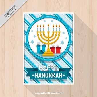 Striped hanukkah card with candelabra