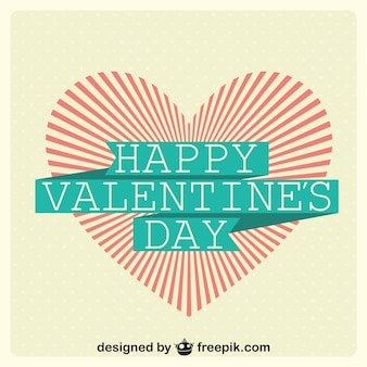 Striped heart in valentine's day card