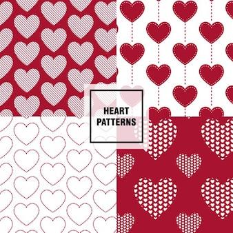 Striped hearts patterns set