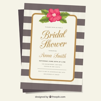 Striped invitation with decorative flower for bridal shower