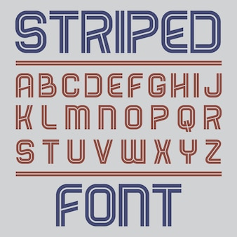 Striped label font poster with alphabet on grey illustration