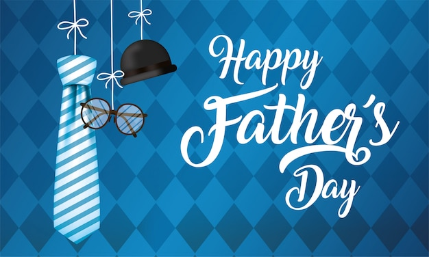 Striped necktie glasses and hat hanging of fathers day