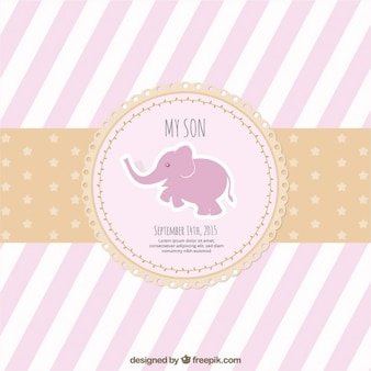 Striped pink baby shower card