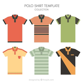Striped polo shirt template collection